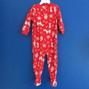 Carters footed onesie pajama red holiday print 18M